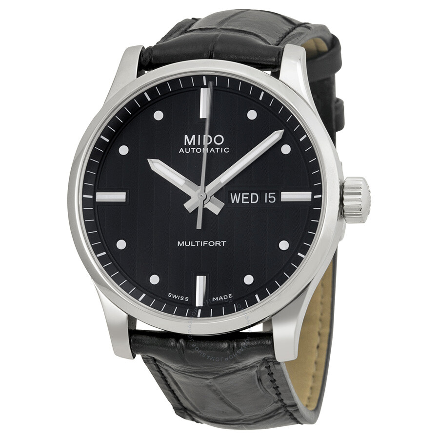 Mido multifort automatic black dial black leather men 39 s watch m0054301603101 multifort mido for Mido watches