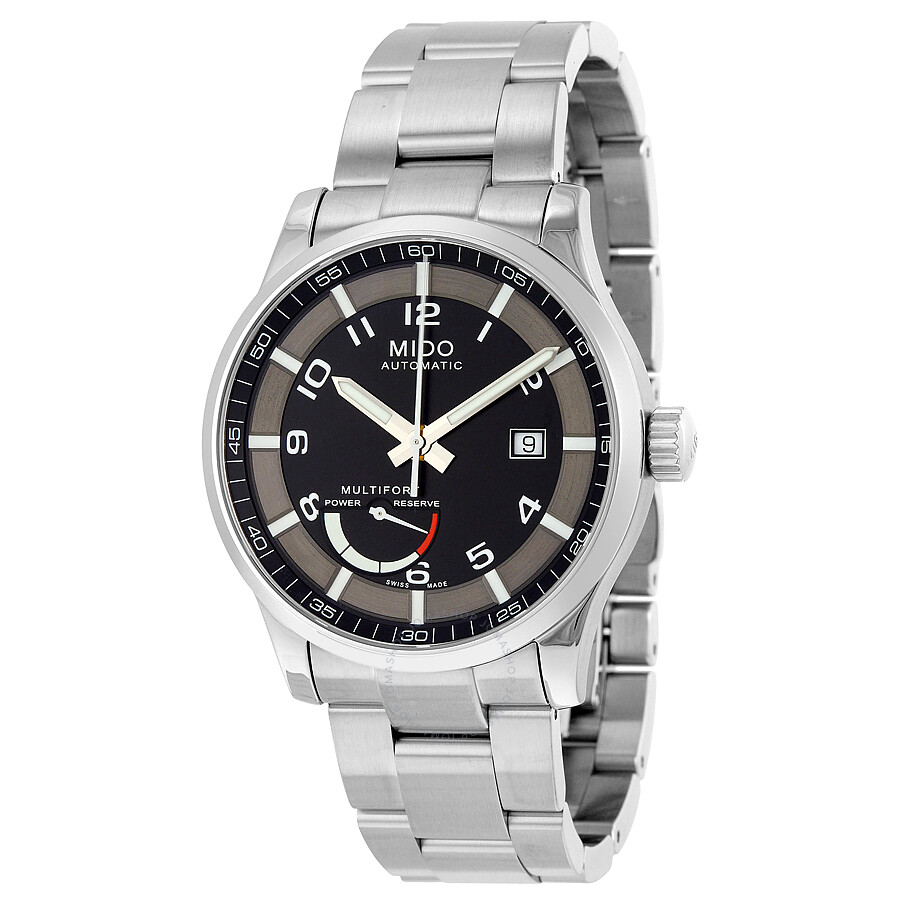 Mido multifort automatic black dial stainless steel men 39 s watch m0054241105202 multifort for Mido watches