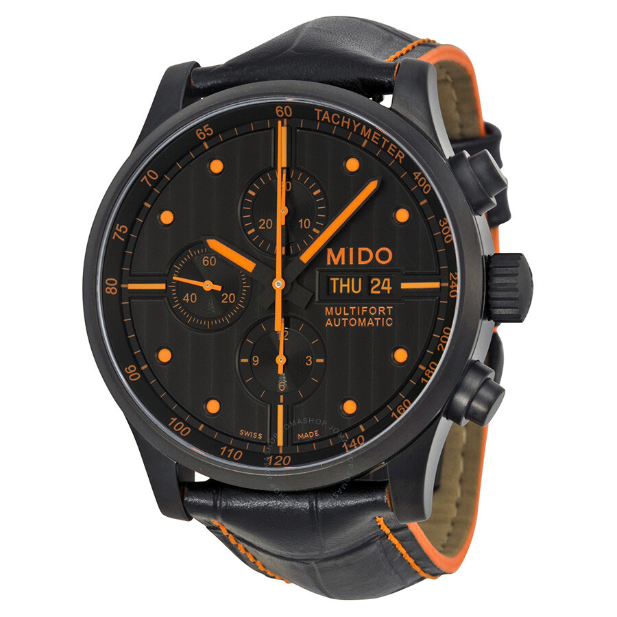 mido multifort automatic chronograph black dial black leather men 39 s watch m0056143605122