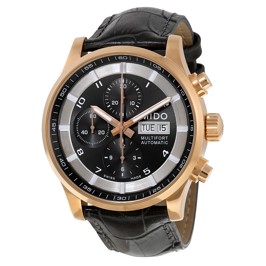 Mido multifort automatic chronograph black dial men 39 s watch m0056143606252 multifort mido for Mido watches