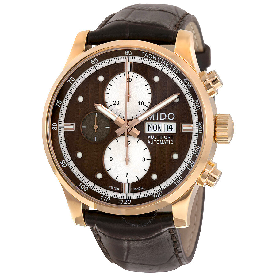 Mido multifort automatic chronograph brown dial brown leather men 39 s watch m0056143629119 for Mido watches