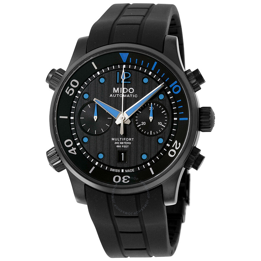 Mido multifort automatic chronograph black dial black rubber men 39 s watch m0059143705000 for Mido watches
