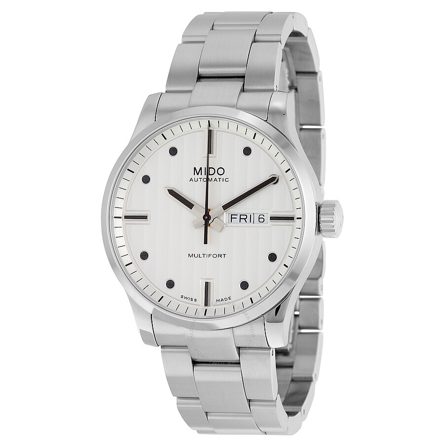 Mido multifort automatic white dial stainless steel men 39 s watch m0054301103100 multifort for Mido watches