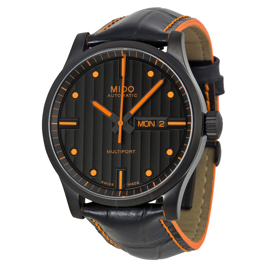 Mido multifort black dial black leather men 39 s watch m0054303605122 multifort mido watches for Mido watches