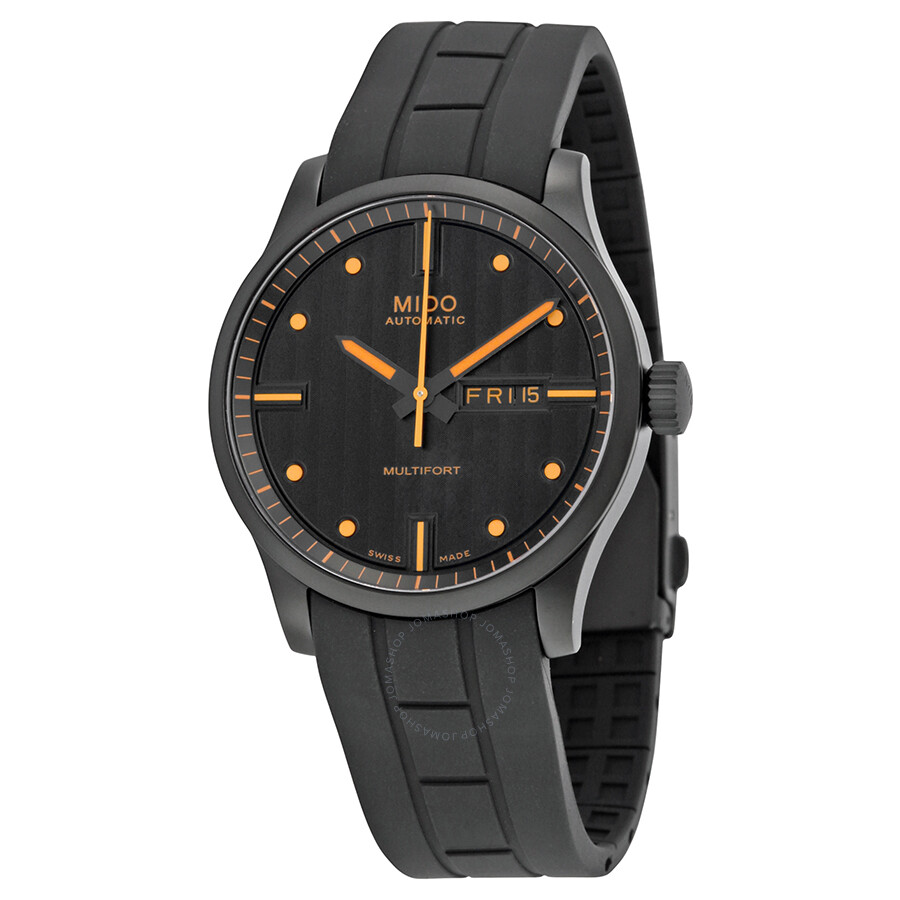 Mido multifort black dial rubber strap automatic men 39 s watch m0054303705180 multifort mido for Mido watches