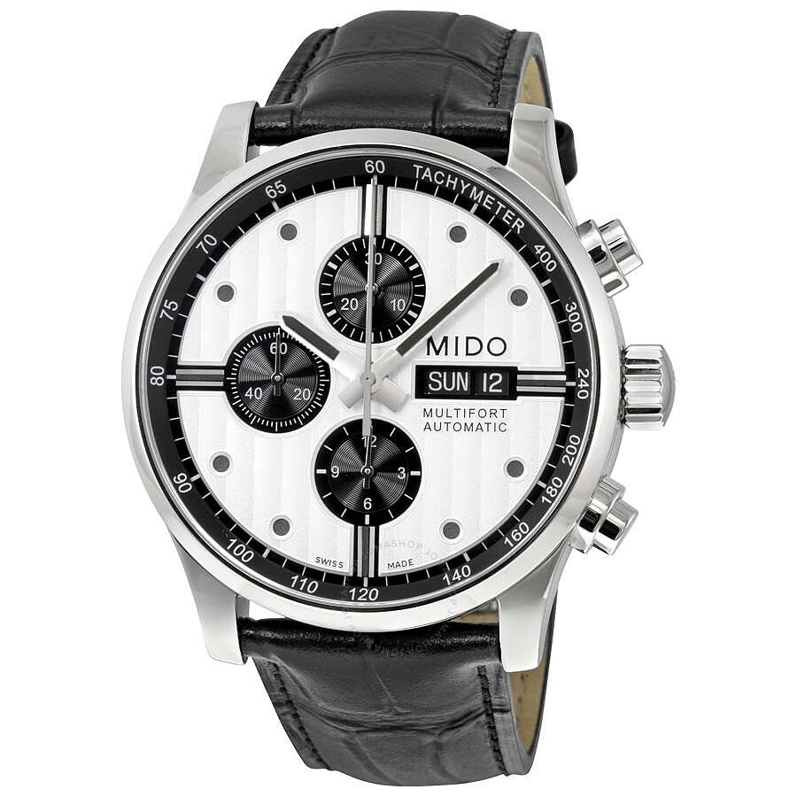 Mido multifort chronograph automatic silver dial black leather men 39 s watch for Mido watches