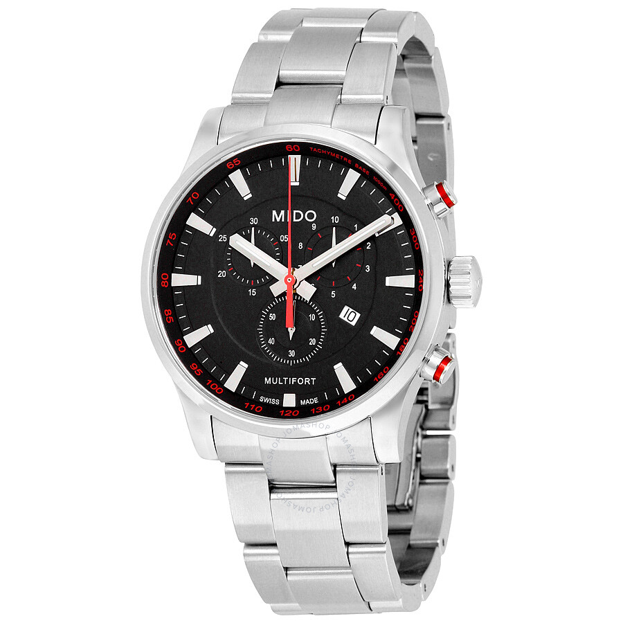 Mido multifort chronograph black dial stainless steel men 39 s watch m0054171105100 multifort for Mido watches