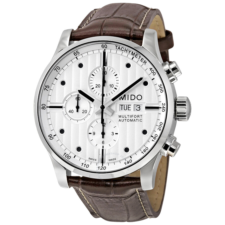 Mido multifort chronograph grey dial brown leather men 39 s watch m0056141603100 multifort mido for Mido watches