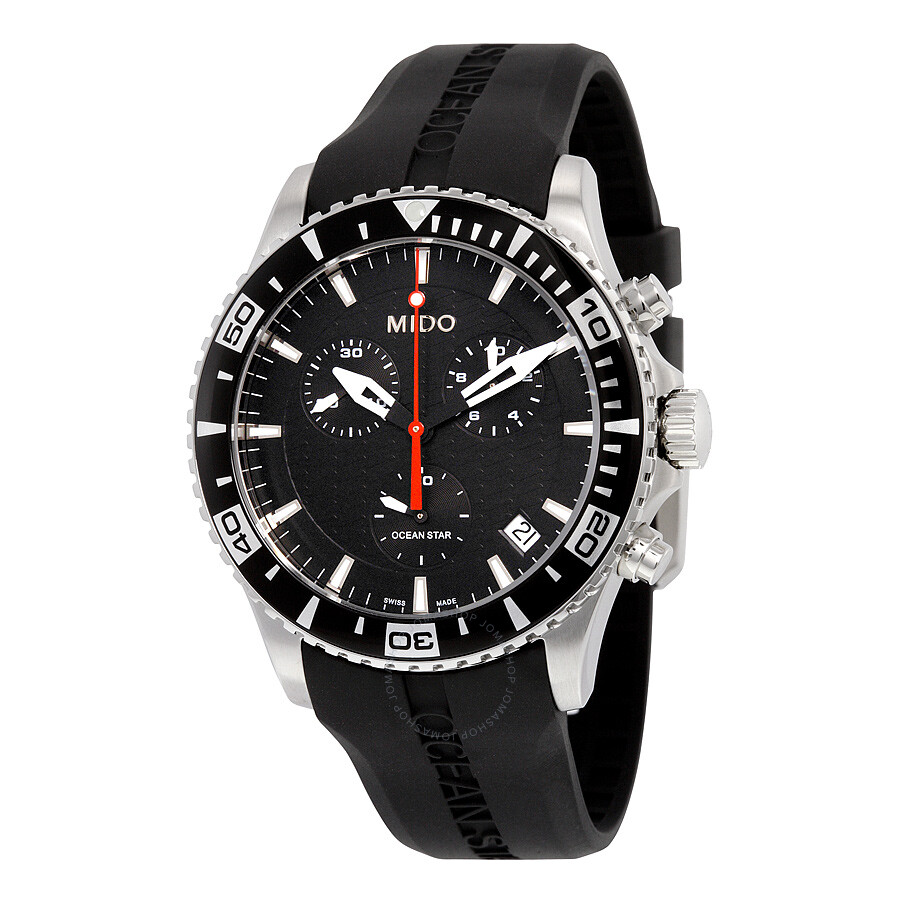 Mido os captain chronograph black dial black rubber men 39 s watch m0114171705122 ocean star for Mido watches