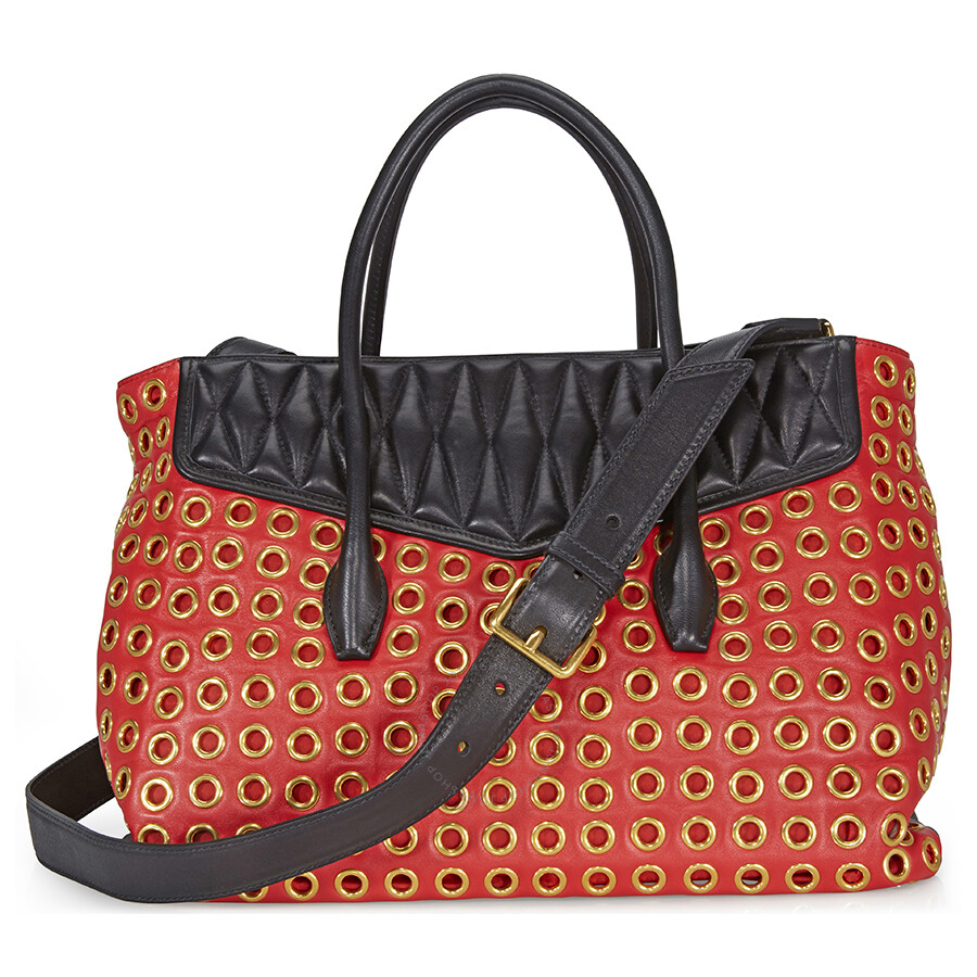 69c0b2e1e05 Miu Miu Biker Leather Tote - Red   Black - Miu Miu - Handbags - Jomashop
