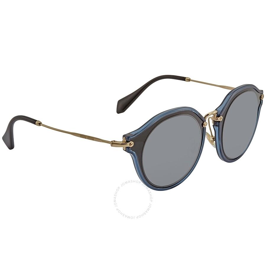 32c961e6348 Miu Miu Black Round Metal Sunglasses - Miu Miu - Sunglasses - Jomashop