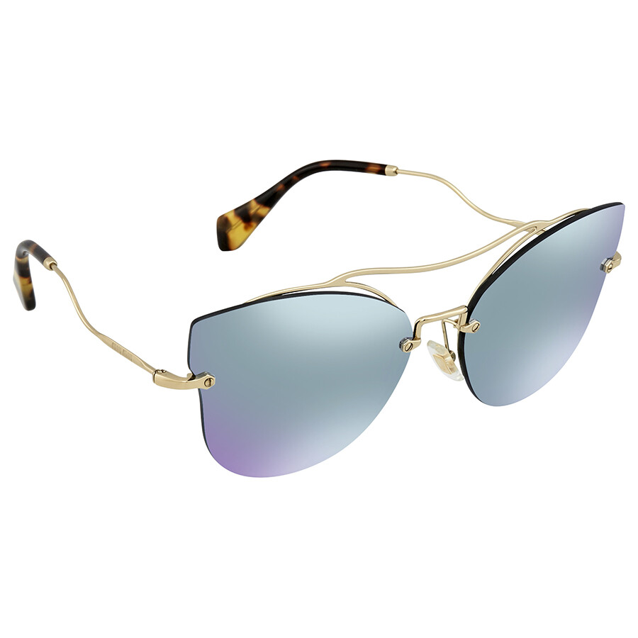 84be816eb141f Miu Miu Blue Mirror White Cat Eye Ladies Sunglasses MU 52SS ZVN5Q0 62 ...