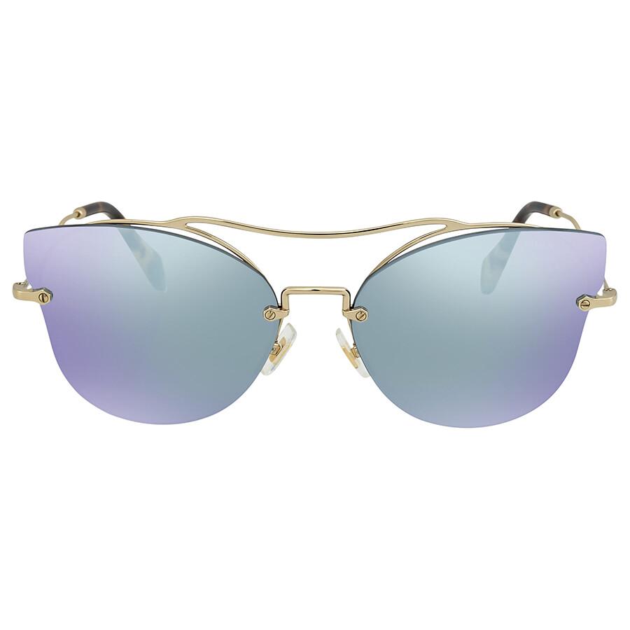 af5a116b47d ... Miu Miu Blue Mirror White Cat Eye Ladies Sunglasses MU 52SS ZVN5Q0 62  ...