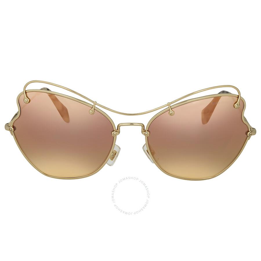 2a7e6a1ab991 Miu Miu Brown Rose Gold Mirror Butterfly Sunglasses Item No.  MU56RS-ZVN6S0-65