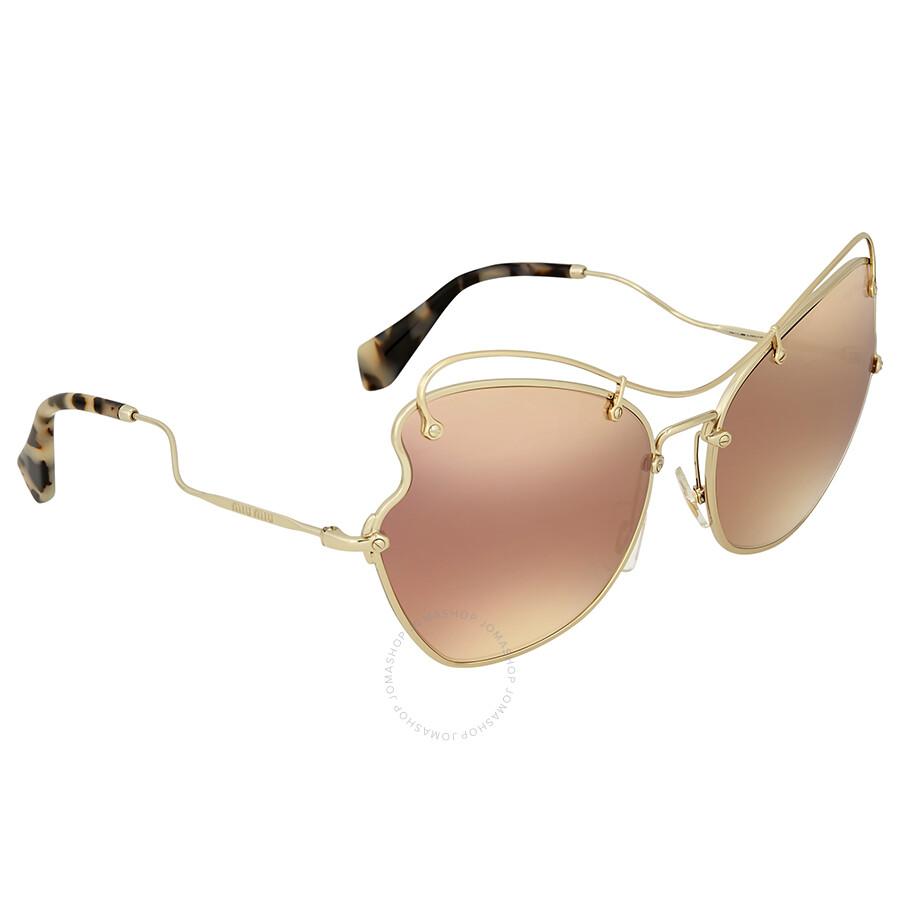 c1c82354154 Miu Miu Brown Rose Gold Mirror Butterfly Sunglasses - Miu Miu ...