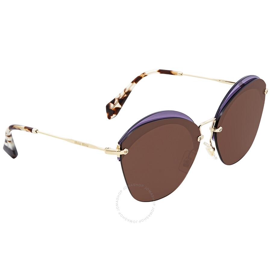 bea3be71fdc8 Miu Miu Brown Round Sunglasses MU 53SS VX29L1 63 Item No. MU 53SS VX29L1 63