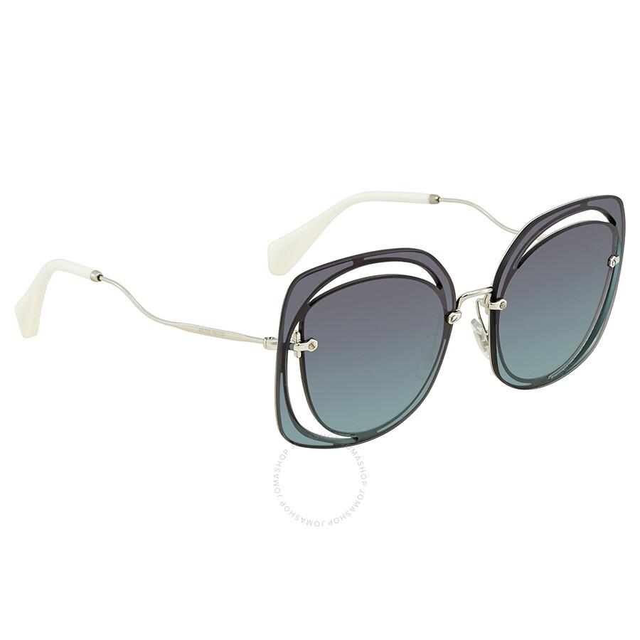 f9f22eedb1f5 Miu Miu Dark Blue Gradient Cat Eye Ladies Sunglasses 0MU 54SS 1BC5R2 64 ...