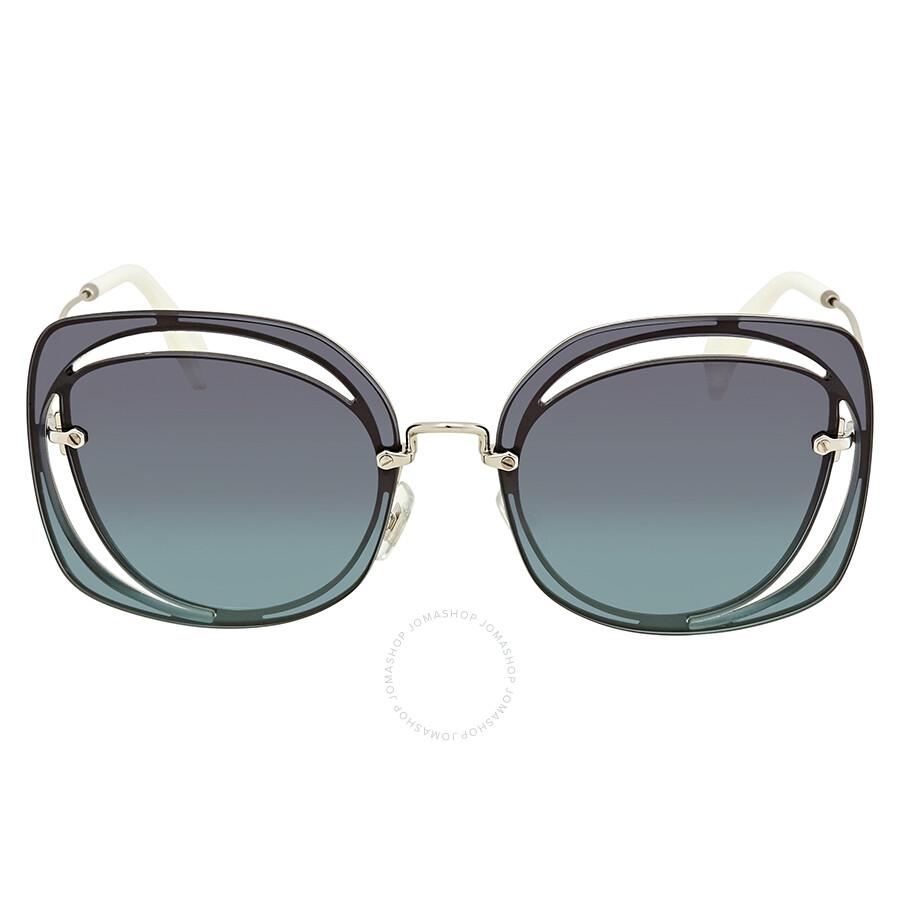 d0cc378015a1 ... Miu Miu Dark Blue Gradient Cat Eye Ladies Sunglasses 0MU 54SS 1BC5R2 64  ...