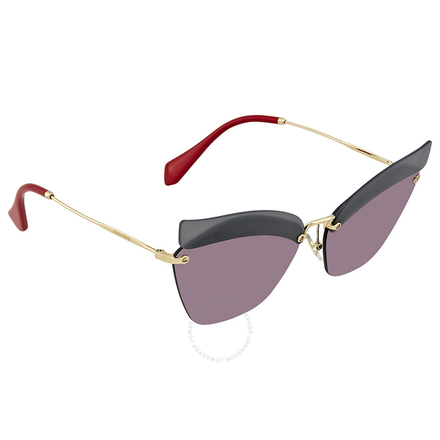 2eaae9d9b7874 Miu Miu Dark Grey Mirror Pink Cat Eye Ladies Sunglasses MU 56TS I18147 63  ...