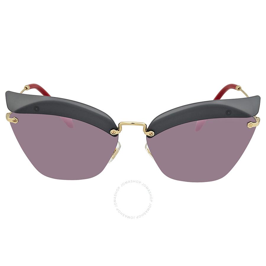 7dfccf4e5d2b ... Miu Miu Dark Grey Mirror Pink Cat Eye Ladies Sunglasses MU 56TS I18147  63 ...