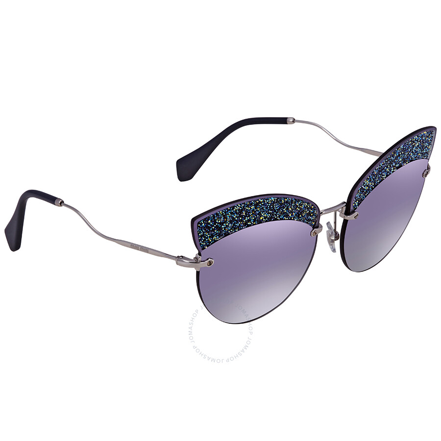 7a92f3d0d46 Miu Miu Grey Gradient Blue  Silver Mirror Cat Eye Ladies Sunglasses MU 58TS  D47148 65 ...