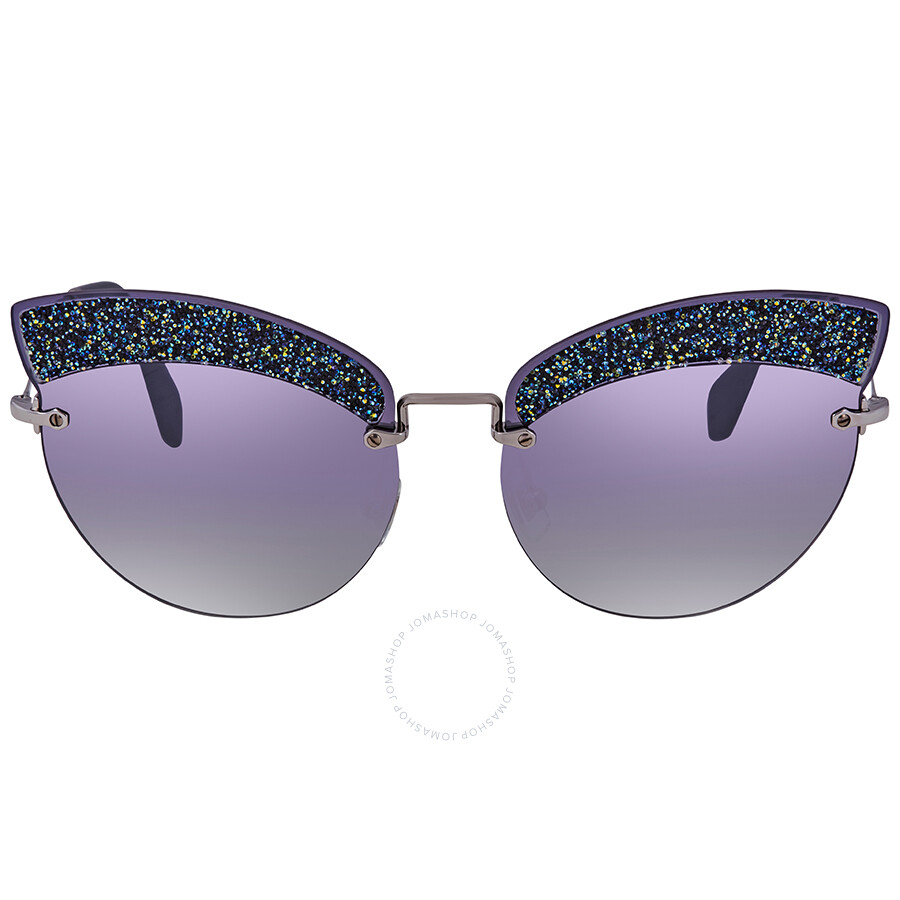 d70bd6f60299 ... Miu Miu Grey Gradient Blue  Silver Mirror Cat Eye Ladies Sunglasses MU  58TS D47148 65 ...