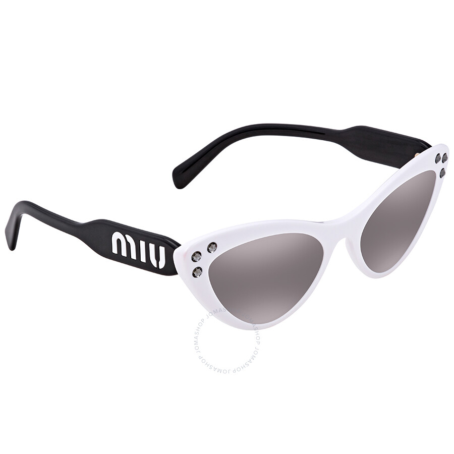 78a5dfa4b7602 Miu Miu Grey Gradient Mirror Cat Eye Ladies Sunglasses MU 05TS 4AO5O0 55 ...