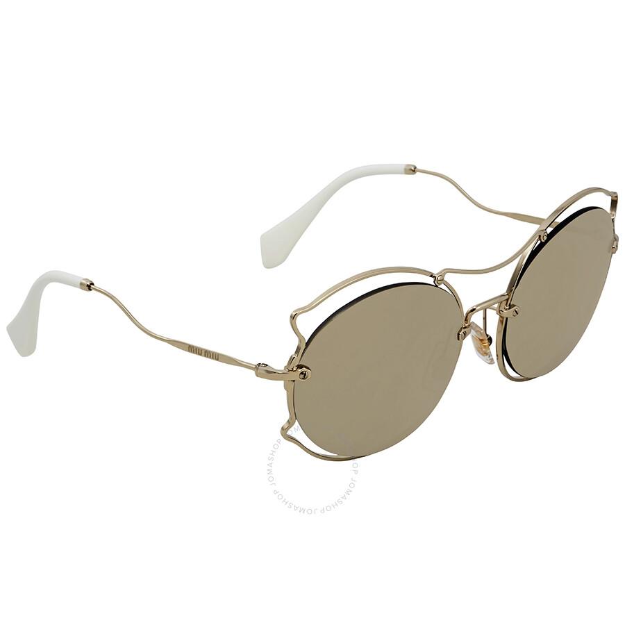 ca33d9e70372a Miu Miu Light Brown Mirror Gold Round Sunglasses MU 50SS ZVN1C0 Item No. MU  50SS ZVN1C0 57