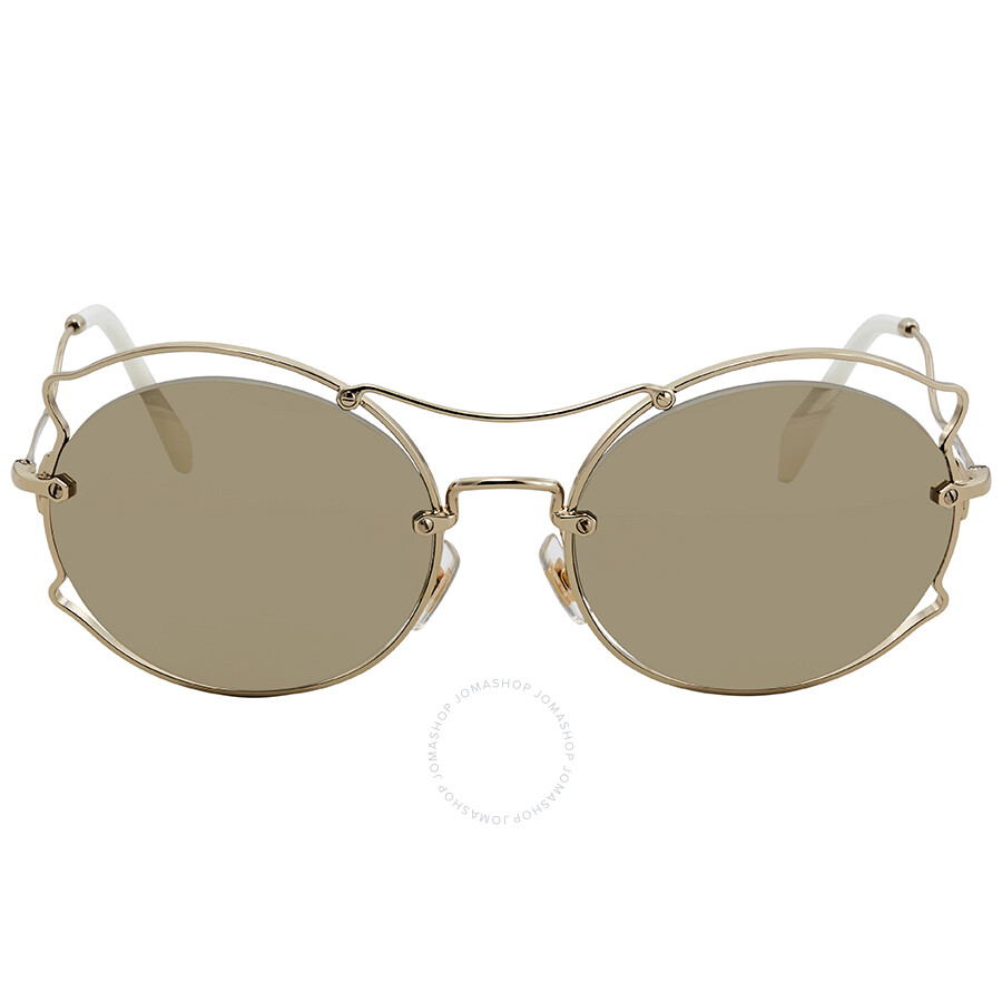6d21cffbe8aae ... Miu Miu Light Brown Mirror Gold Round Sunglasses MU 50SS ZVN1C0 57 ...