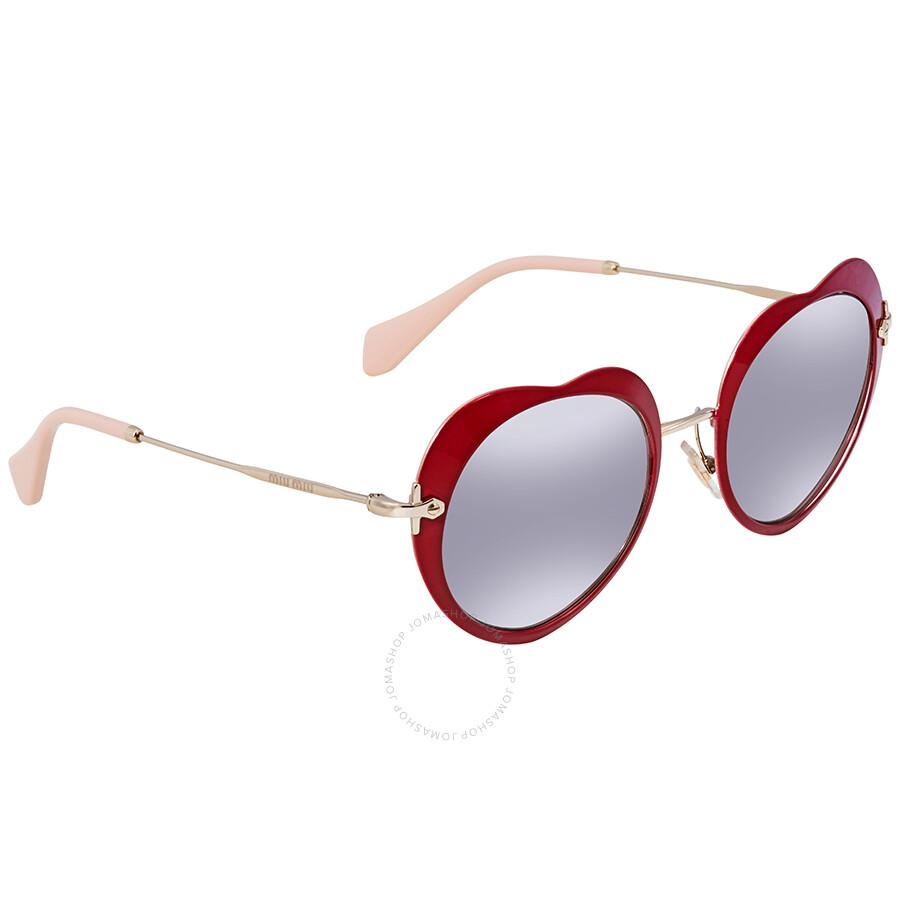 045c082f662 Miu Miu Light Grey Silver Mirror Heart Sunglasses MU 54RS USS2B0 52 ...