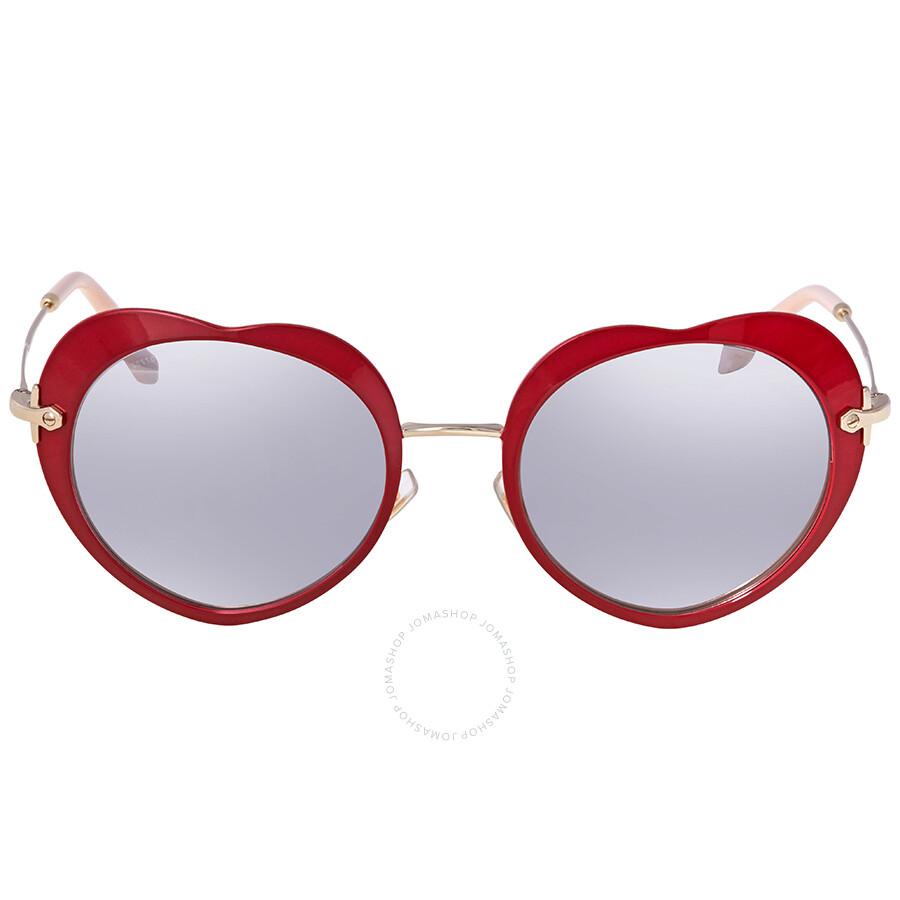 d24d70454f5a ... Miu Miu Light Grey/Silver Mirror Heart Sunglasses MU 54RS USS2B0 52 ...