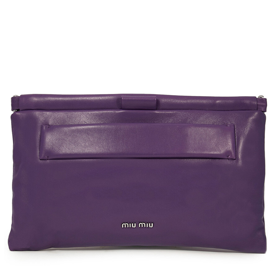 4d048df929 Miu Miu Nappa Leather Clutch - Purple - Miu Miu - Handbags - Jomashop