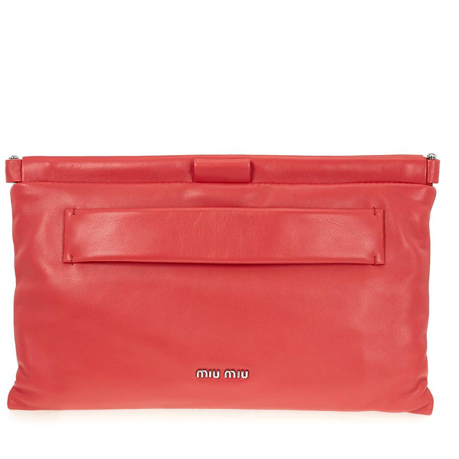 7aeab30757e3b Miu Miu Nappa Leather Clutch - Red - Miu Miu - Handbags - Jomashop