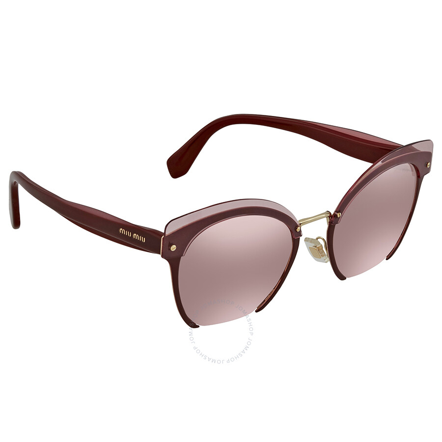 fbe37546ec8 Miu Miu Pink Silver Mirror Gradient Cat Eye Ladies Sunglasses MU 53TS  CCG7L1 53 ...