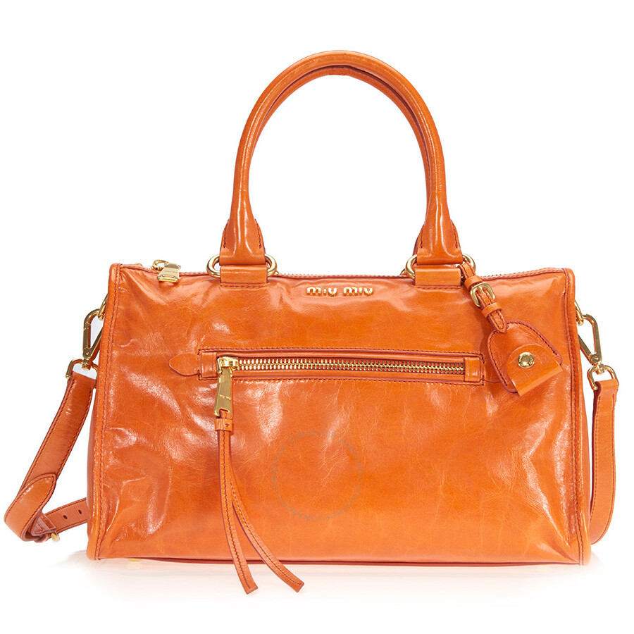 Miu Shiny Calfskin Leather Handbag Papaya