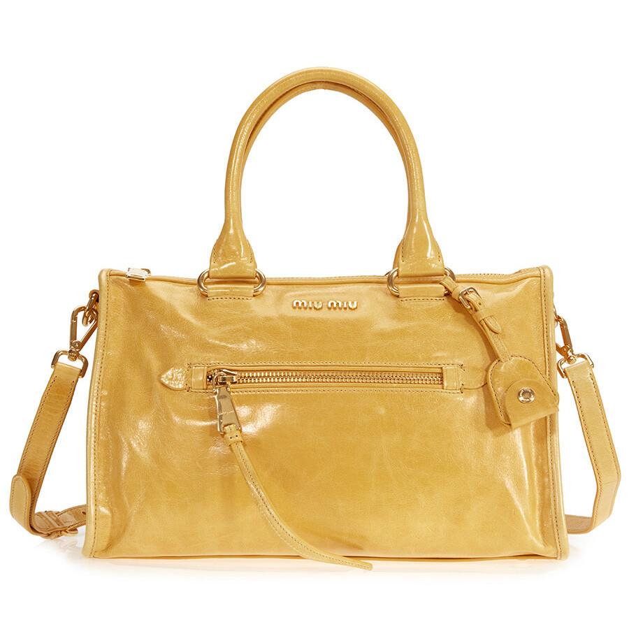 Miu Shiny Calfskin Leather Handbag Soleil