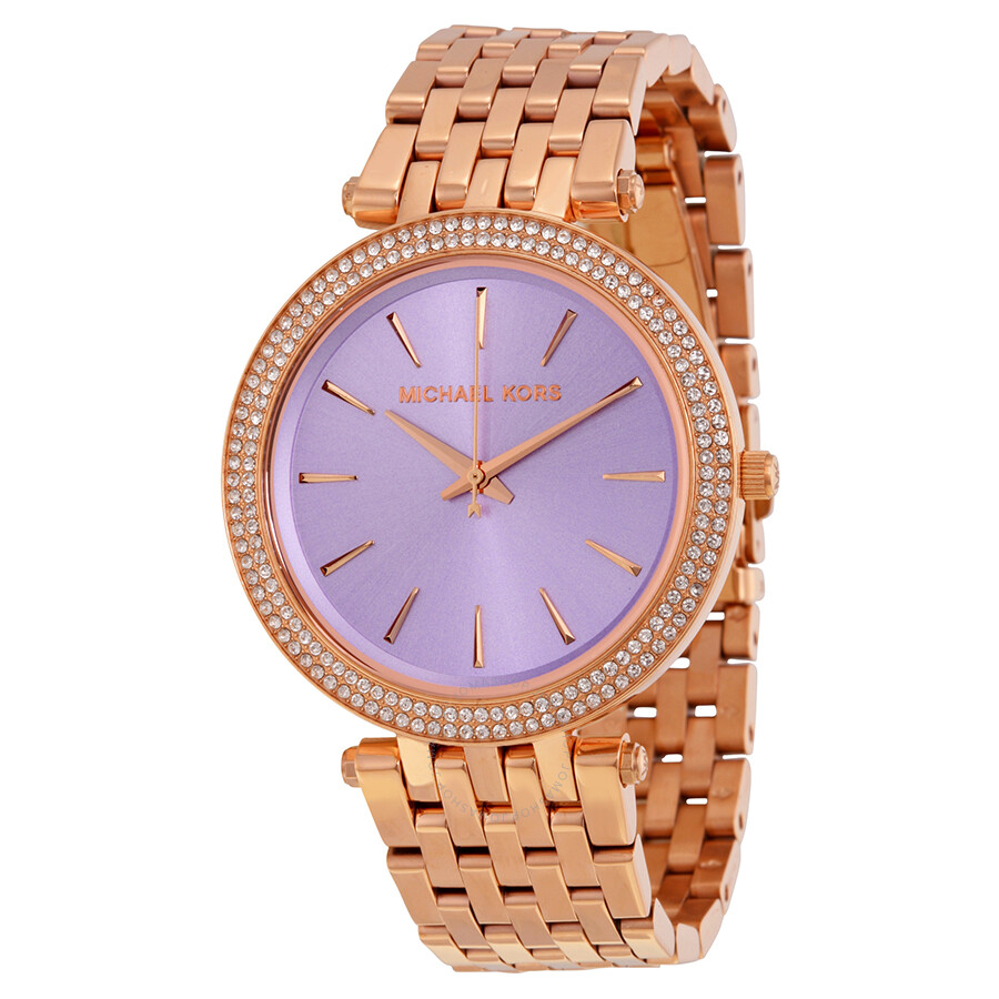 11da685f38922 Michael Kors Darci Purple Dial Rose Gold-tone Ladies Watch MK340020 ...