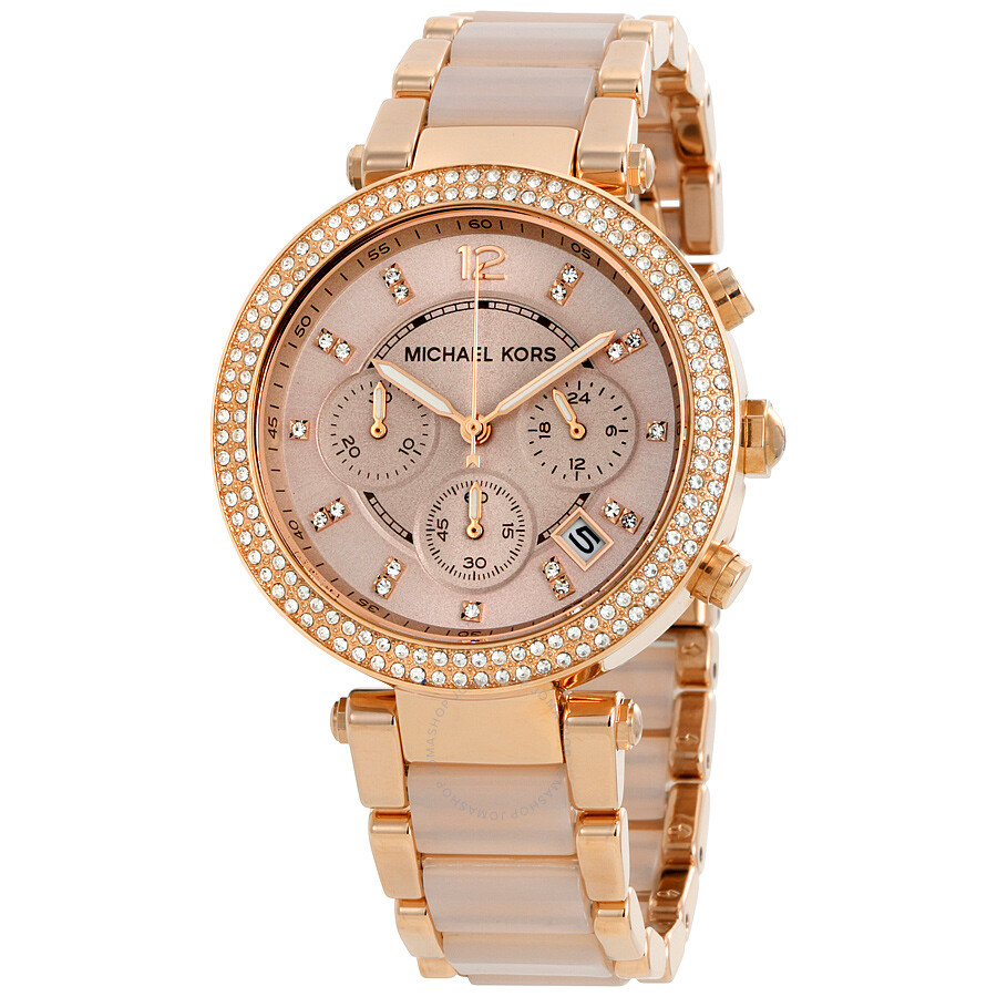 michael kors parker blush dial ladies watch mk5896 parker michael kors watches jomashop. Black Bedroom Furniture Sets. Home Design Ideas