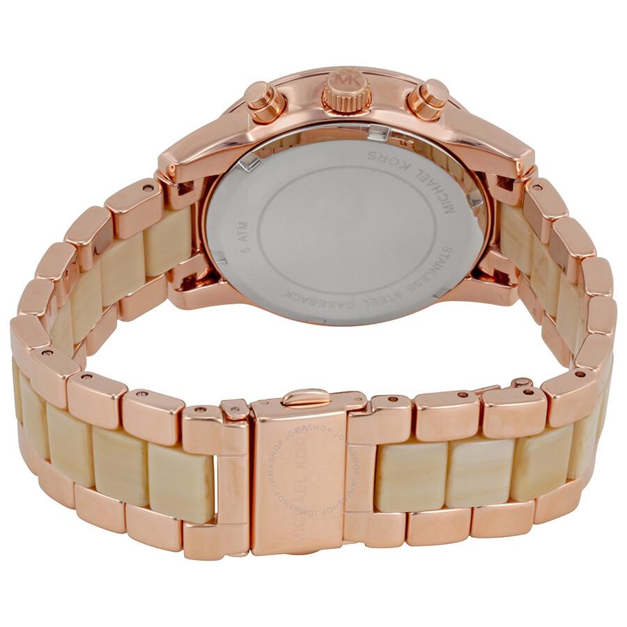 9304ae2b1920 Michael Kors Ritz Rose Gold Dial Ladies Chronograph Watch MK6493 ...