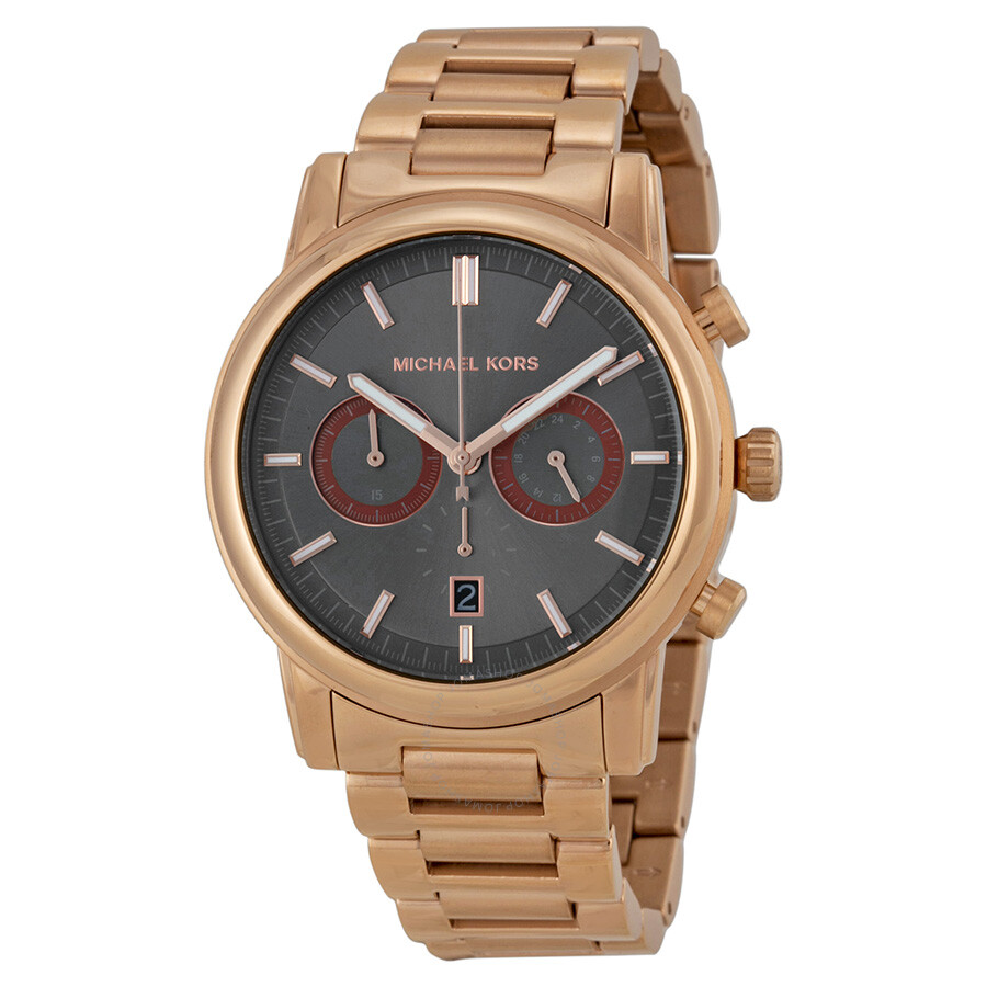 9606662ff3a9 Michael Kors Open Box - Pennant Chronograph Grey Dial Rose Gold Ion-plated  Men s Watch Item No. MK8370