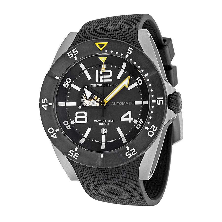 c78d648b760 Momo Design Dive Master Swiss Movement Automatic Black Dial Black Rubber  Men s Watch MD279SB11 ...