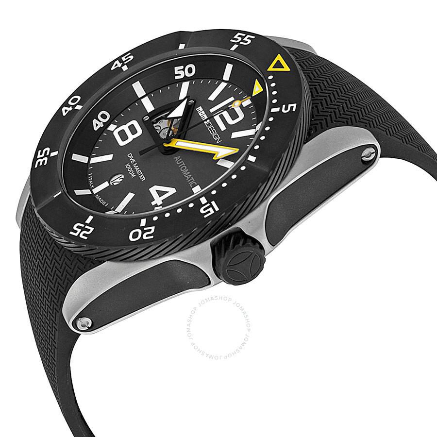 7ea8662b76e ... Momo Design Dive Master Swiss Movement Automatic Black Dial Black  Rubber Men s Watch MD279SB11 ...