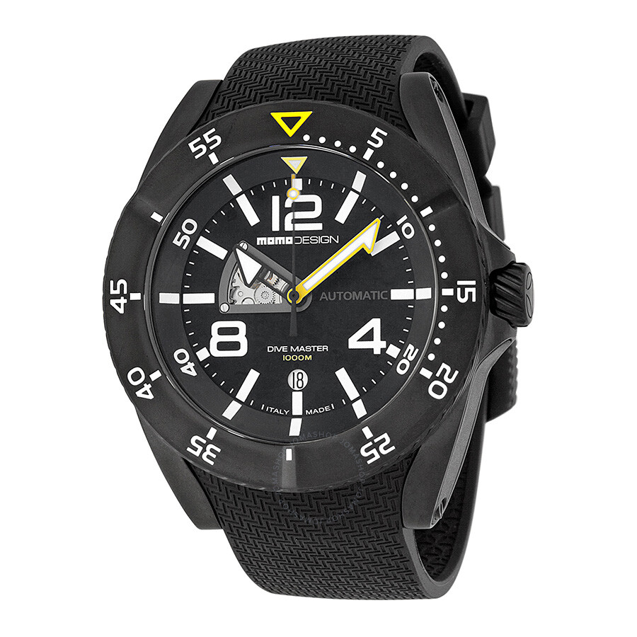 Momo design dive master black dial black rubber men 39 s watch md279bk11 momo design watches - Momo design dive master ...