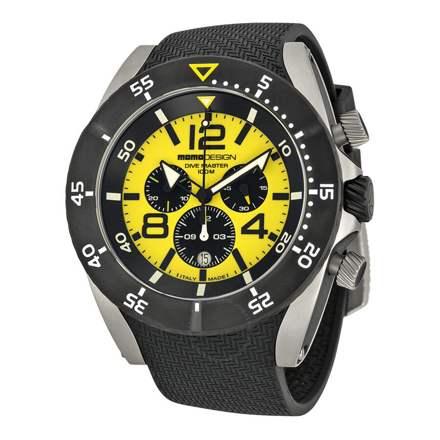 Momo design dive master chronograph yellow dial stainless steel men 39 s watch md278sb41 momo - Momo design dive master ...