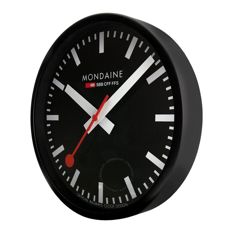 Mondaine black dial black frame wall clock a990clock64sbb clock mondaine watches jomashop - Mondaine wall clocks ...