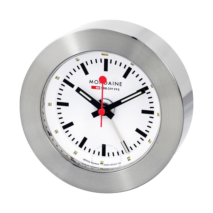 Mondaine white dial alarm clock a992 mondaine watches jomashop - Mondaine wall clock cm ...