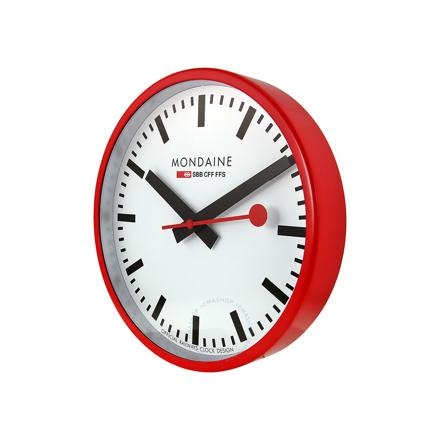 Mondaine white dial red frame wall clock a990clock11sbc mondaine watches jomashop - Mondaine wall clocks ...