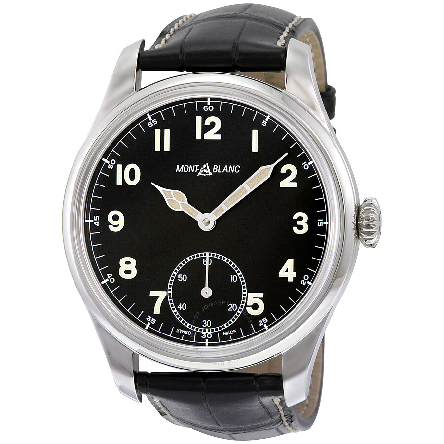 Montblanc 1858 black dial leather strap men 39 s watch 113860 1858 montblanc watches jomashop for Montblanc watches