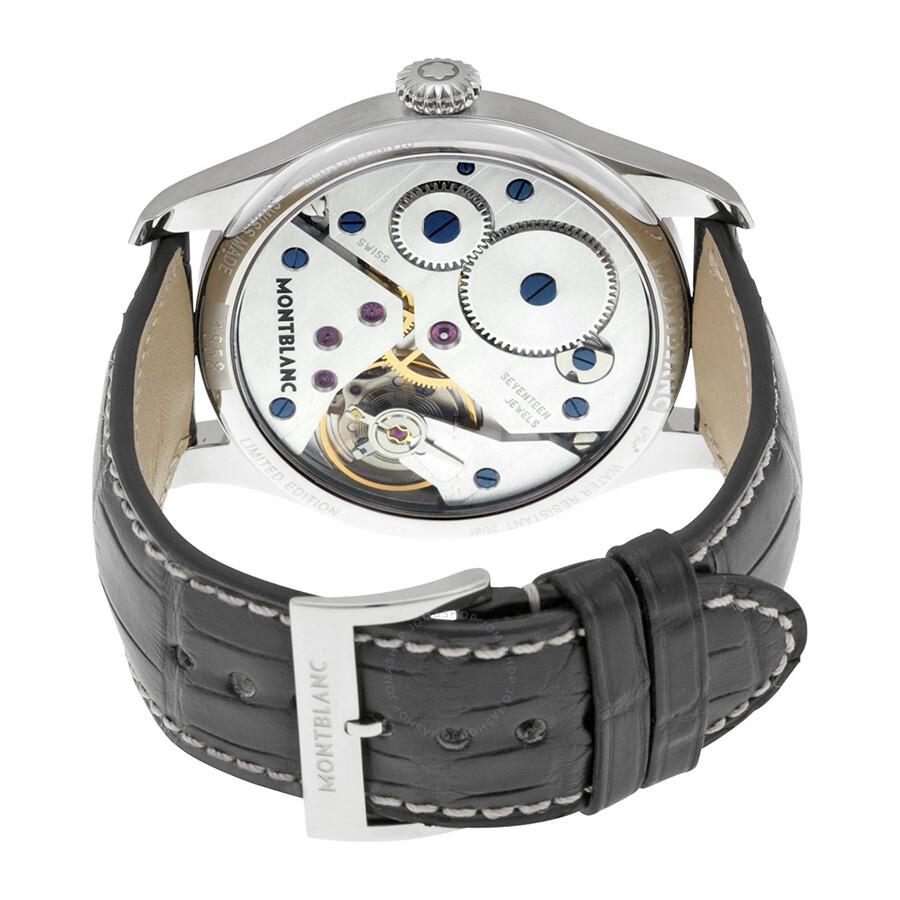 086c6164ecc Montblanc 1858 Black Dial Leather Strap Men's Watch 113860 - 1858 ...