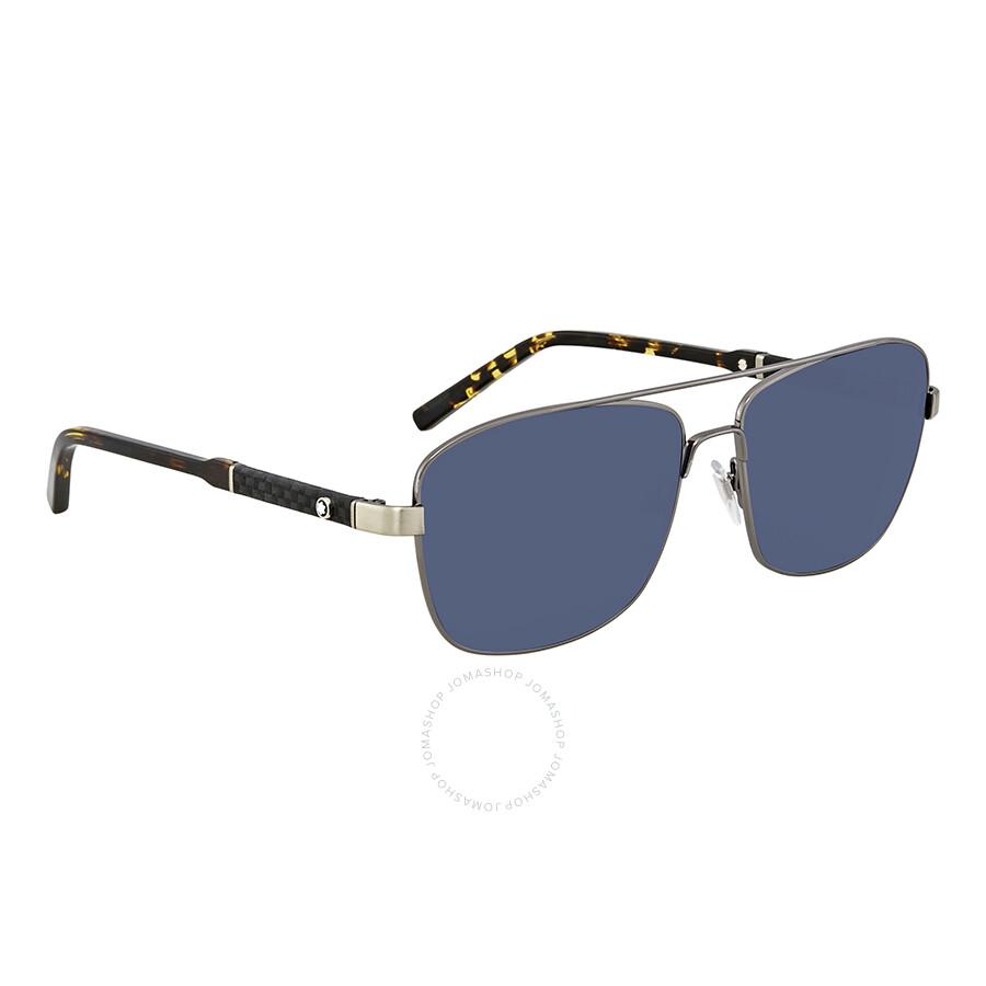 3da44a7844f Montblanc Blue Aviator Men s Sunglasses MB589S 08V 60 - Montblanc ...